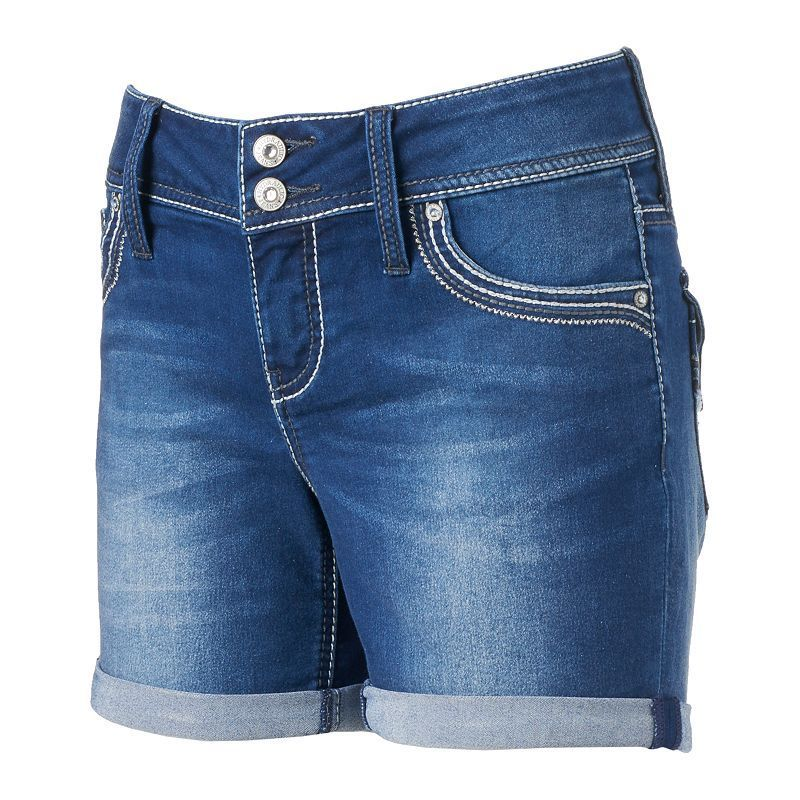 Juniors' Hydraulic Double-Button Denim Midi Shorts, Girl's, Size: