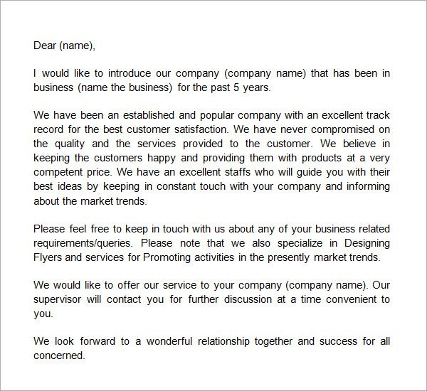 sample business introduction letter free documents pdf word - business letter template word