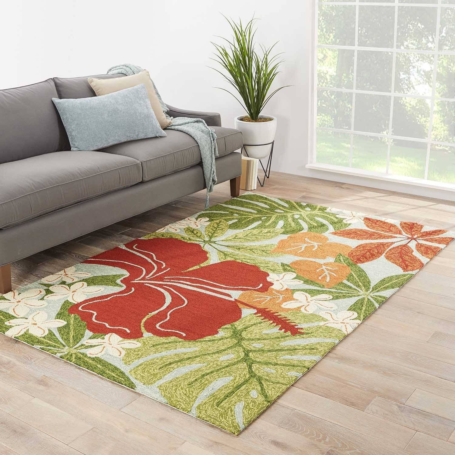 Kahiwa Indoor Outdoor Floral Multicolor Blue Area Rug 5 X 7 6