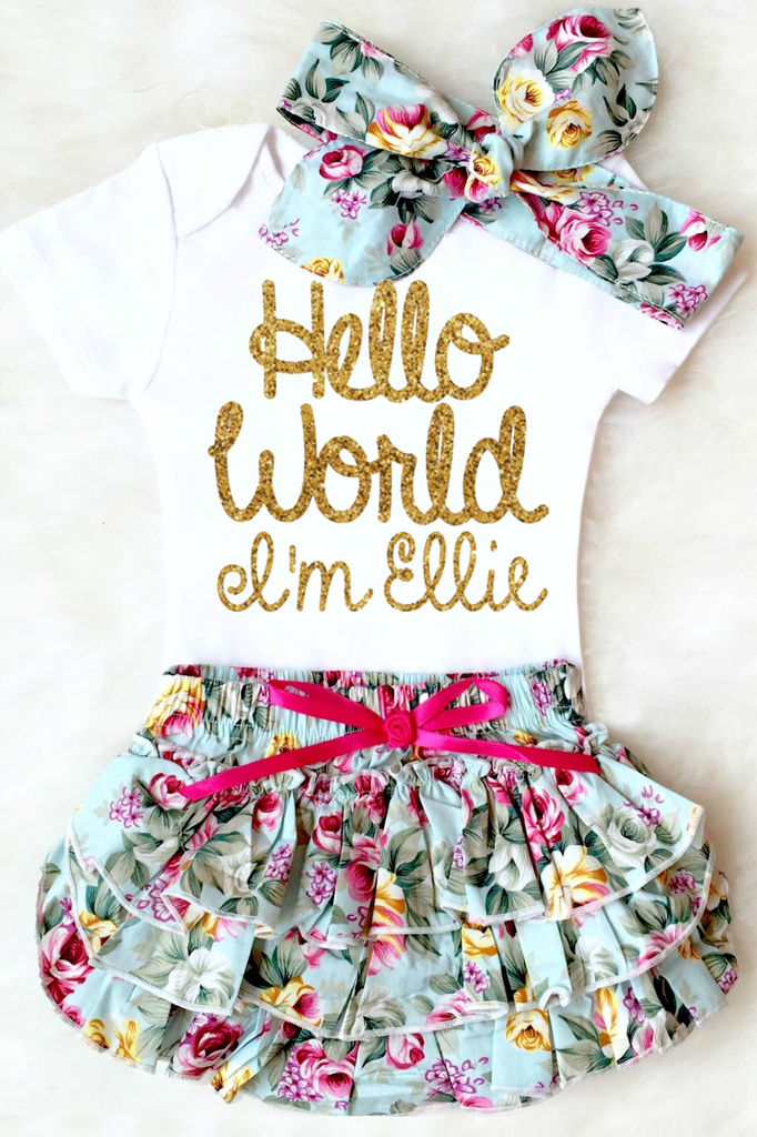 28bb21ba44d2 Hello world baby girl outfit