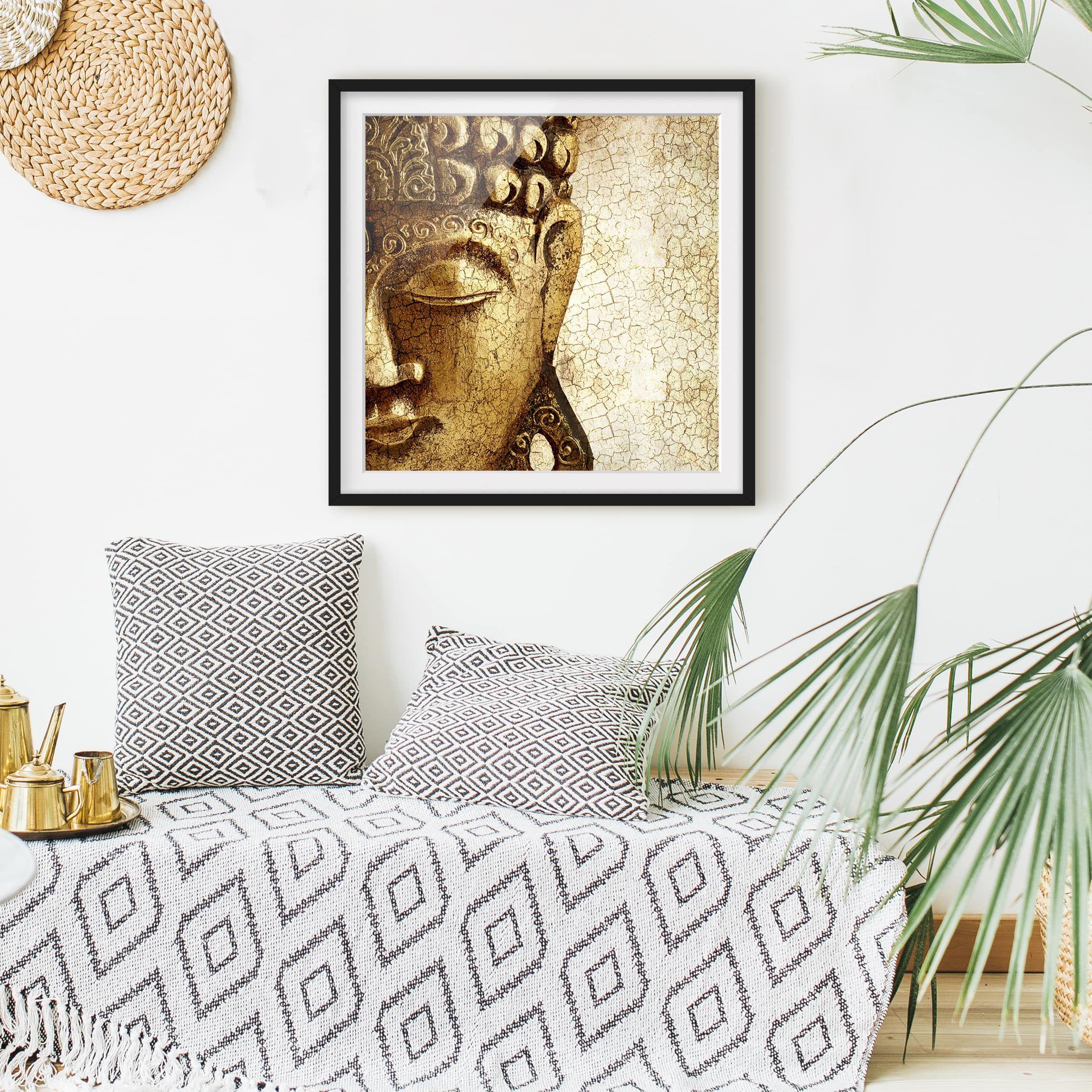 Bild mit Rahmen - Vintage Buddha - Quadrat 1:1 | POSTER MIT ...