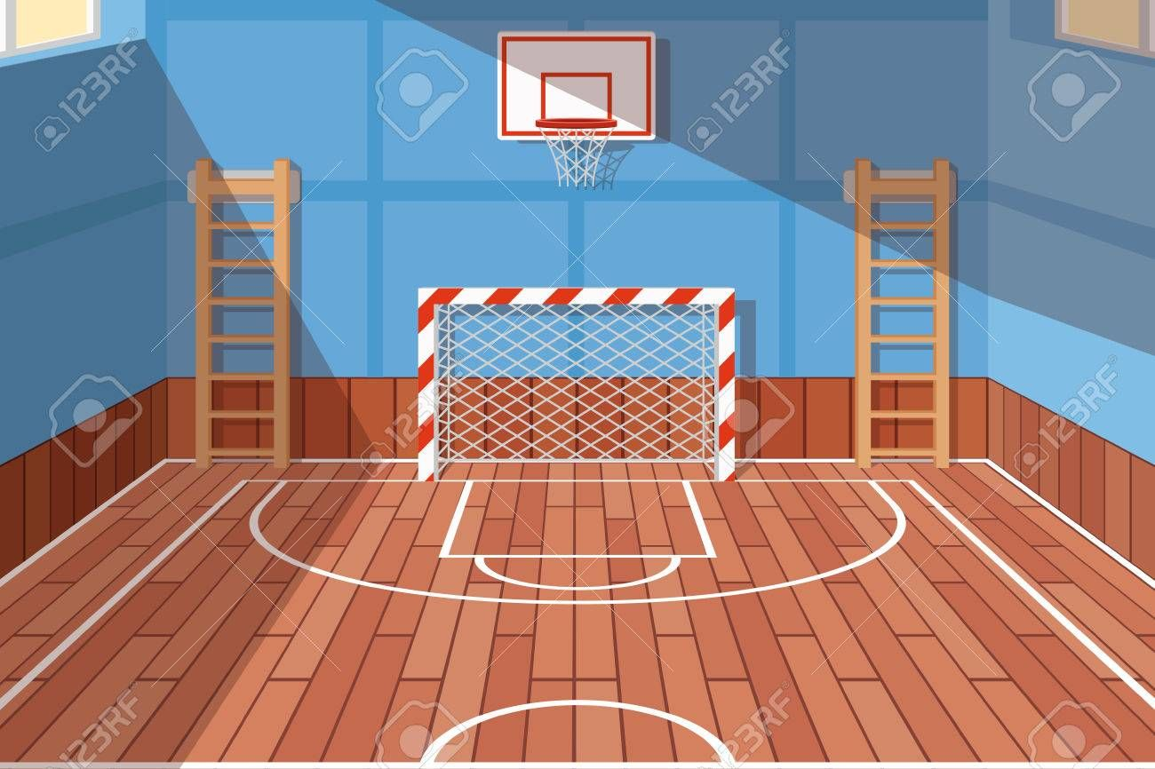 School Or University Gym Hall Gym Court For Football And Basketball School Hall Floor Game Vecto Football And Basketball School Hall Basketball Photography