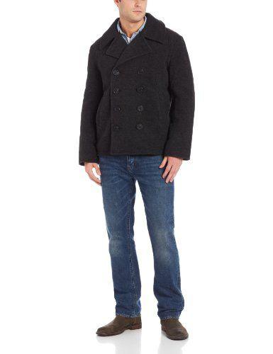 Best Offer Alpha Industries Men's USN Wool Pea Coat, Grey, X-Large