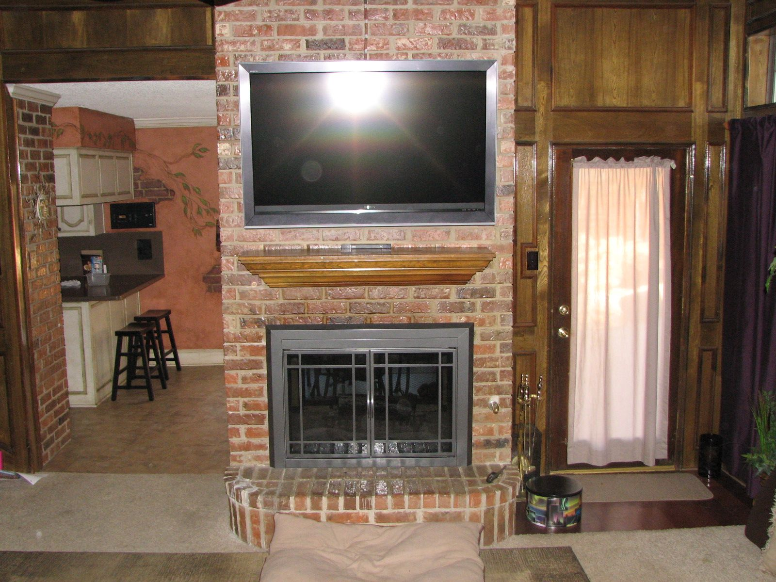 brick fireplaces with tv above tv install installation of tv over rh pinterest com Awesom TV Wall Giant Plasma Screen TV On Wall