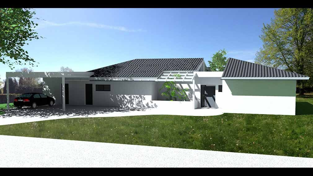 Plan Maison Architecte - Maison contemporaine de plain pied couverte