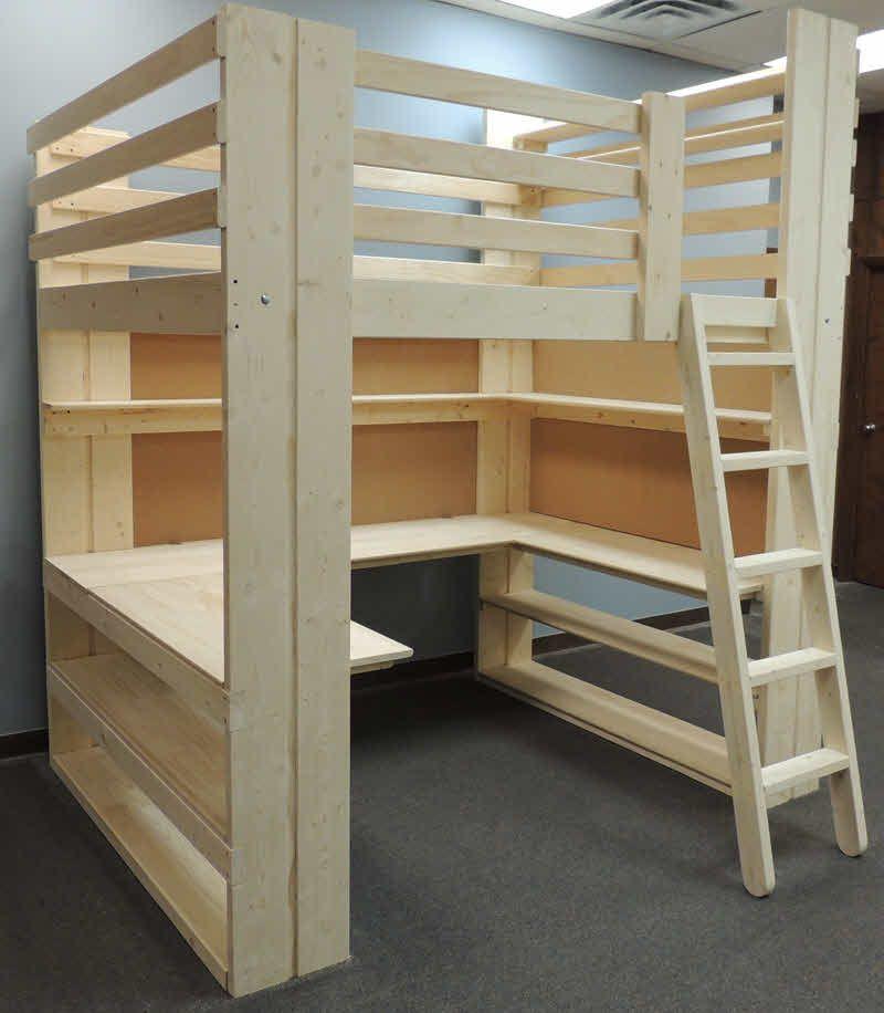 Workstation loft bed with UShaped Desk shelving and cork