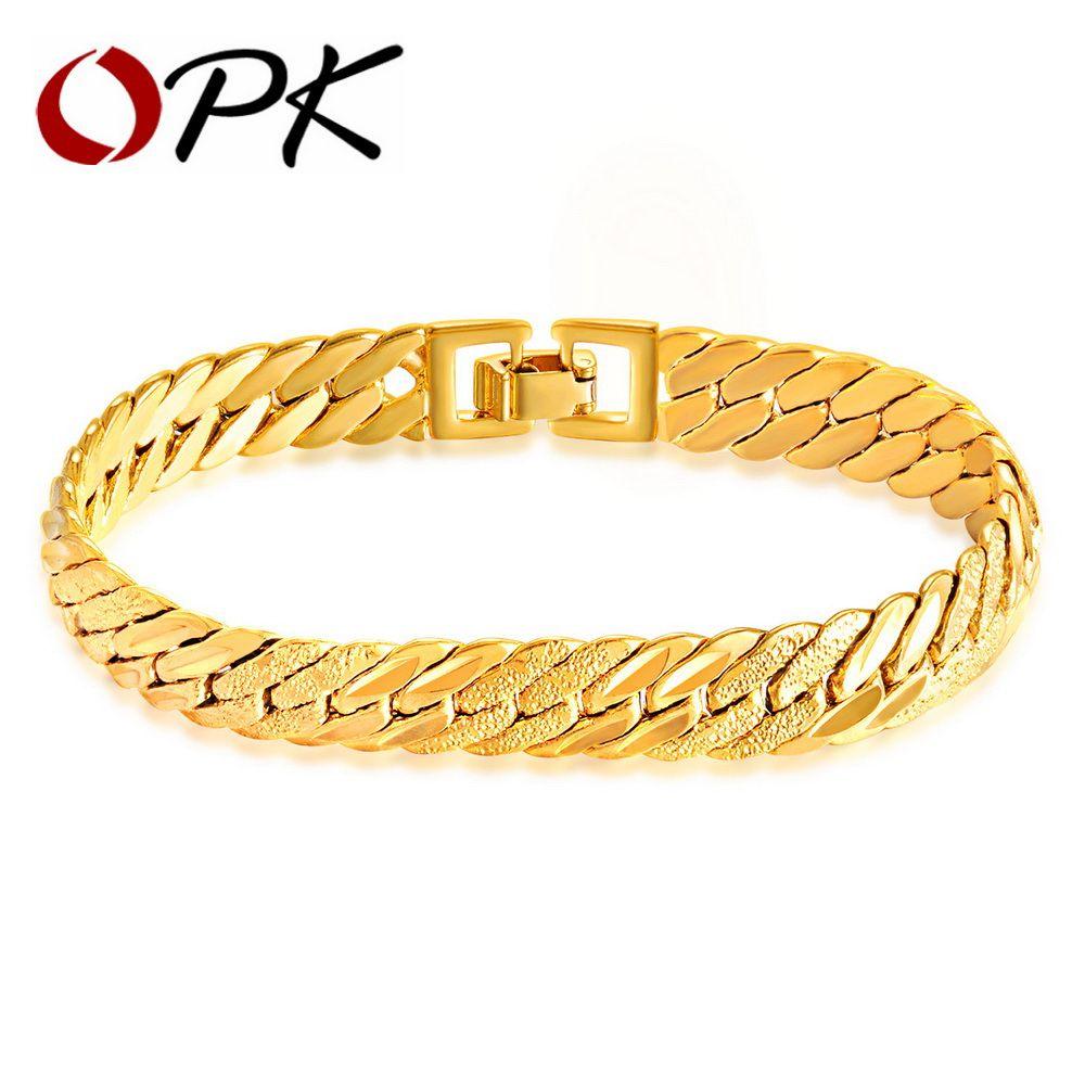 Opk hiphop gold color chain bracelet for men dull u high polished
