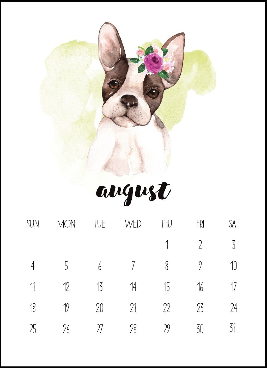 Watercolor August 2019 Printable Calendar S Izobrazheniyami