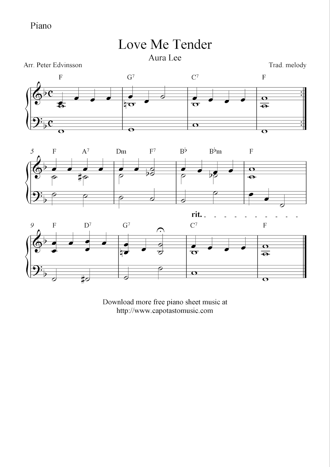 Free Easy Piano Sheet Music Solo Arrangement With The Melody Love Me Tender Aura Lee Free Printable She Piano Sheet Music Sheet Music Easy Piano Sheet Music