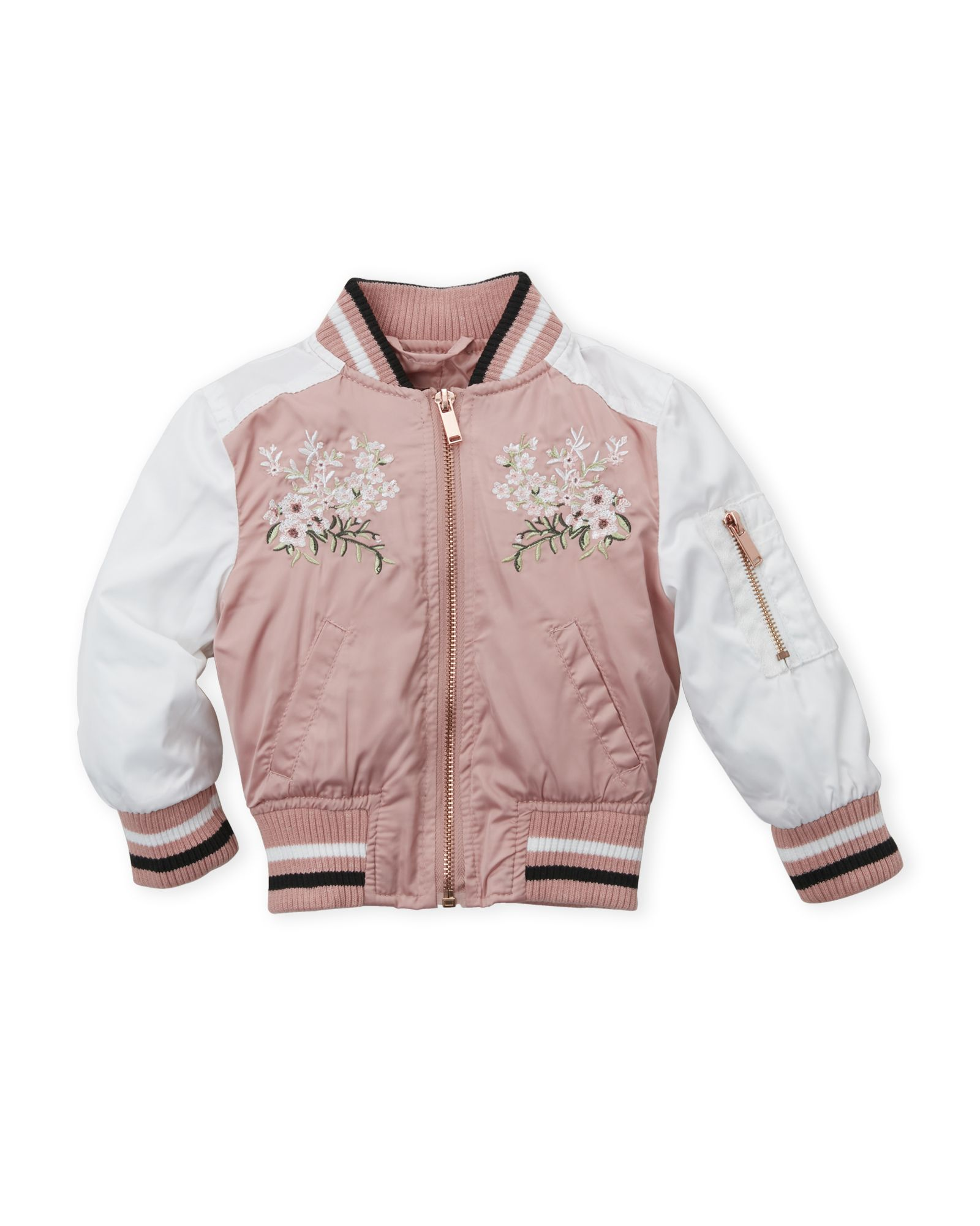 1b80f4035b9b Infant Girls) Sateen Embroidered Floral Bomber Jacket