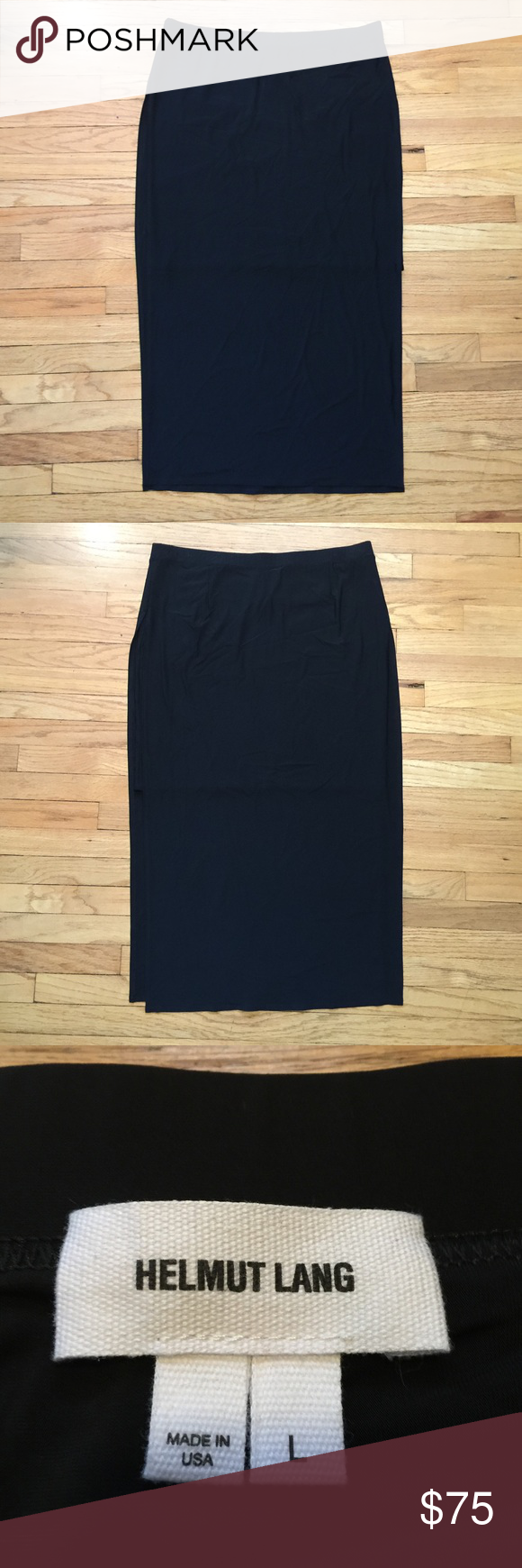 Helmet Lang black skirt w/ sexy slit - sz large Helmet Lang black skirt w/ sexy slit - sz large. Goes to midcalf. Has a shorter underskirt, with a sexy long slit. Waist - 17 inches. Length - 35 inches. Excellent condition. Helmut Lang Skirts Maxi