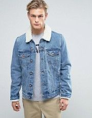 acheter populaire 1a1dd d4bf0 ASOS - Veste en jean avec col en fourrure synthétique à ...
