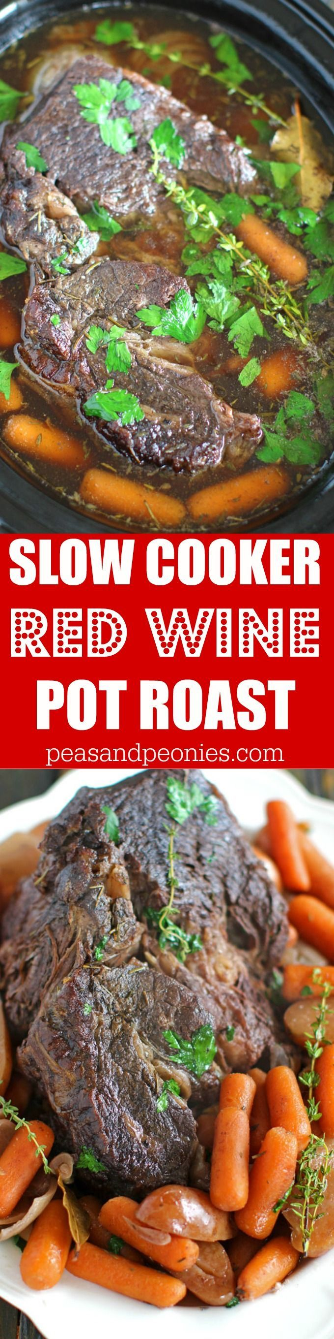 Slow Cooker Pot Roast With Red Wine Sweet And Savory Meals Recipe Pot Roast Pot Roast Slow Cooker Slow Cooker