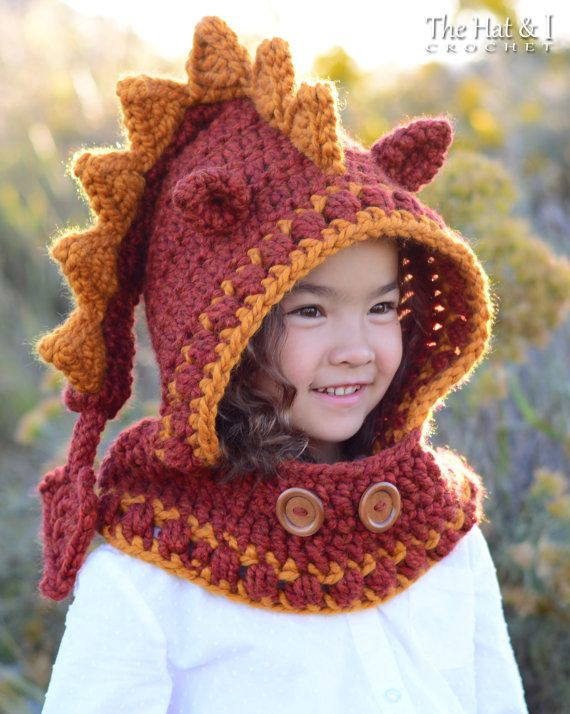CROCHET PATTERN - Lucky Dragon Hood & Cowl - a crochet dragon hooded ...