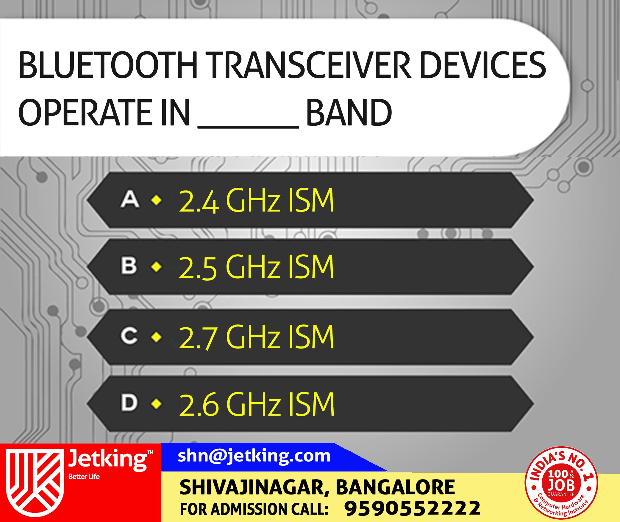 #Bluetooth #transceiver #devices #operate in ______ #band. #Quiz #Jetking #Shivajinagar