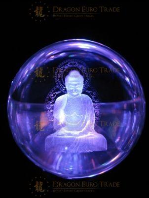 10cm crystal laser ball buddha