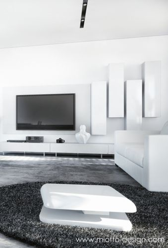 Modern Black And White Living Room With A White Leather Sofa White Coffee Table And White Wa Black And White Living Room White Leather Sofas White Living Room