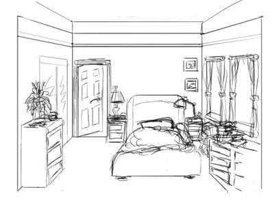 Kids Bedroom Drawing how to draw a bedroom - google search | interior perspective ref