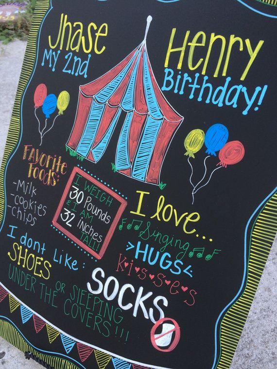 Carnival themed milestone board keepsake by ChalkingChic on Etsy