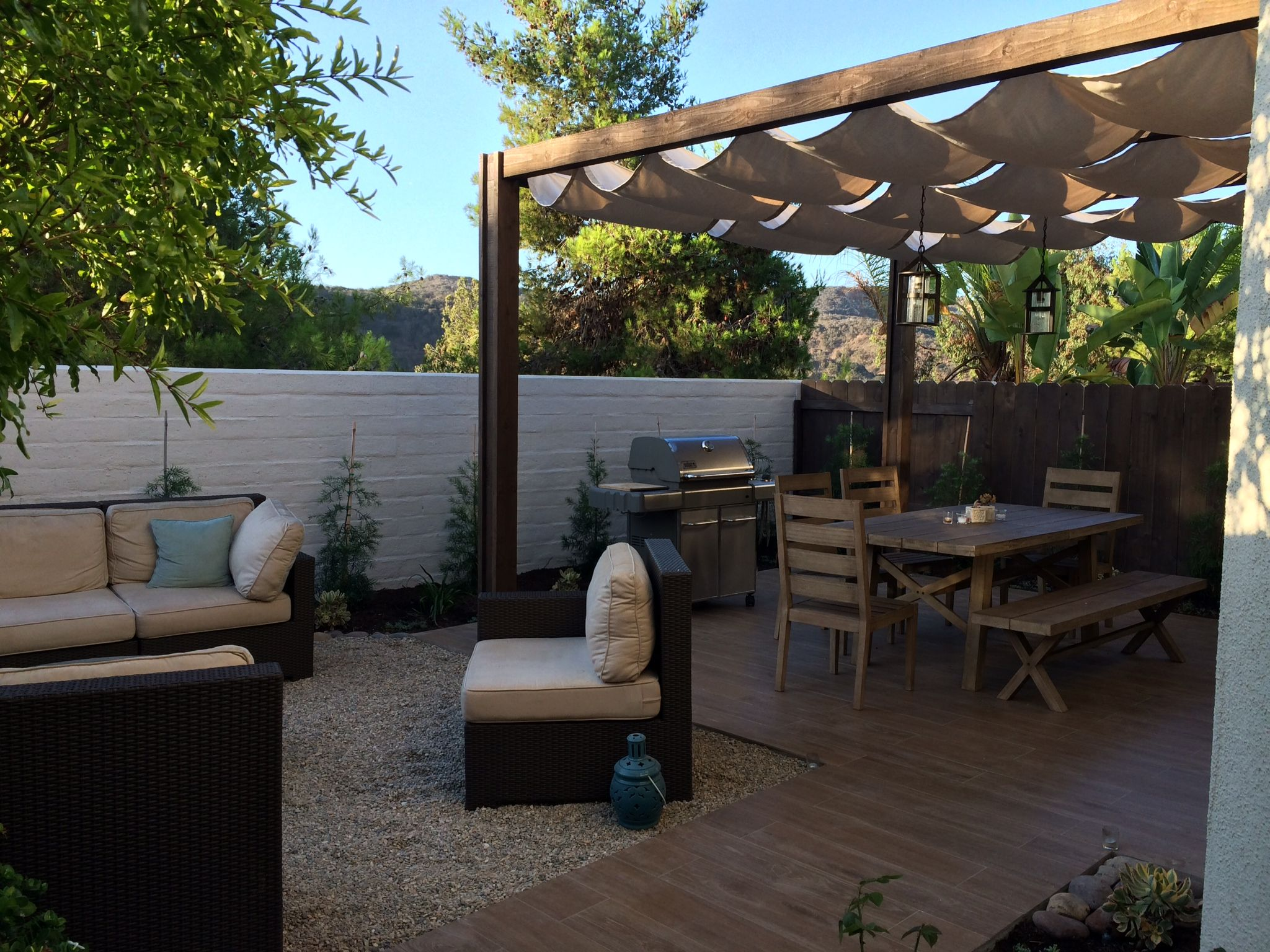 Outdoor living space made chic with this custom made ... on Custom Outdoor Living Spaces id=64387