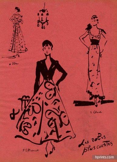 Christian Bérard.  Paquin, Schiaparelli, Jean Patou, and Chanel, 1937.