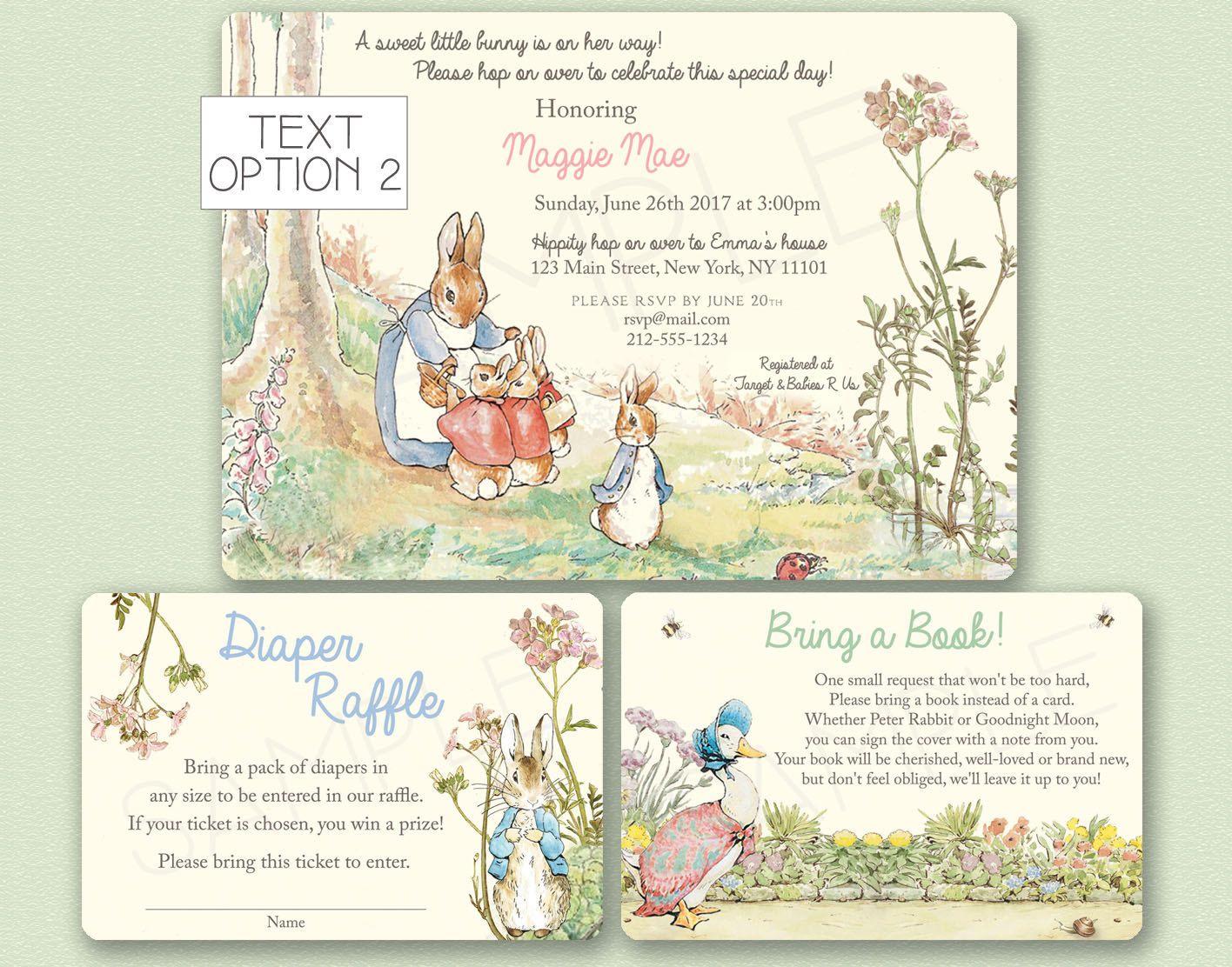 Peter Rabbit Baby Shower Invitation - Beatrix Potter Birthday Party ...