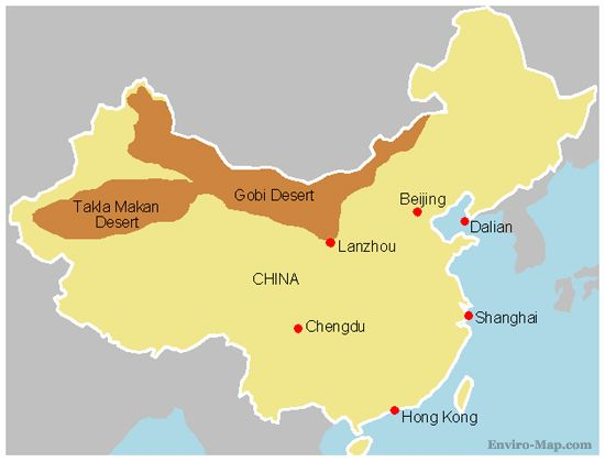 Map Of Asia Gobi Desert.China S Expanding Gobi Desert Maps And Gobi Desert China