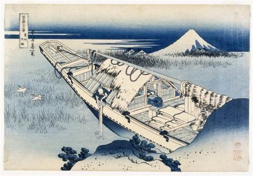 View of Fuji from a Boat at Ushibori - Katsushika Hokusai