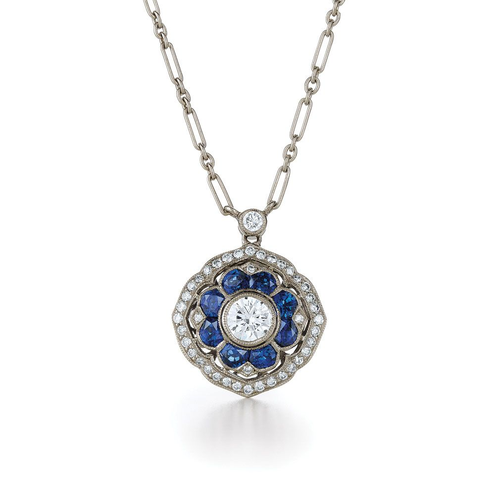 White gold pendant kwiat vintage collection style 28612s diamond blue sapphire and diamond pendant from the kwiat vintage collection in 18k white gold style aloadofball Image collections