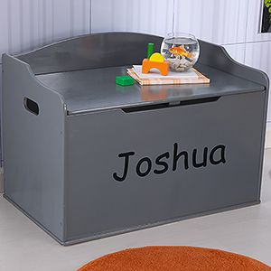 Personalized Kids Toy Box Gray Stuff For The Niños