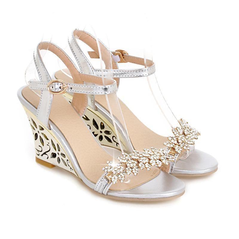 c32ca8561f126 Aliexpress.com   Buy New arrival Glittering Fashion Fretwork Heels Wedges  sandals Rhinestone Silver Gold