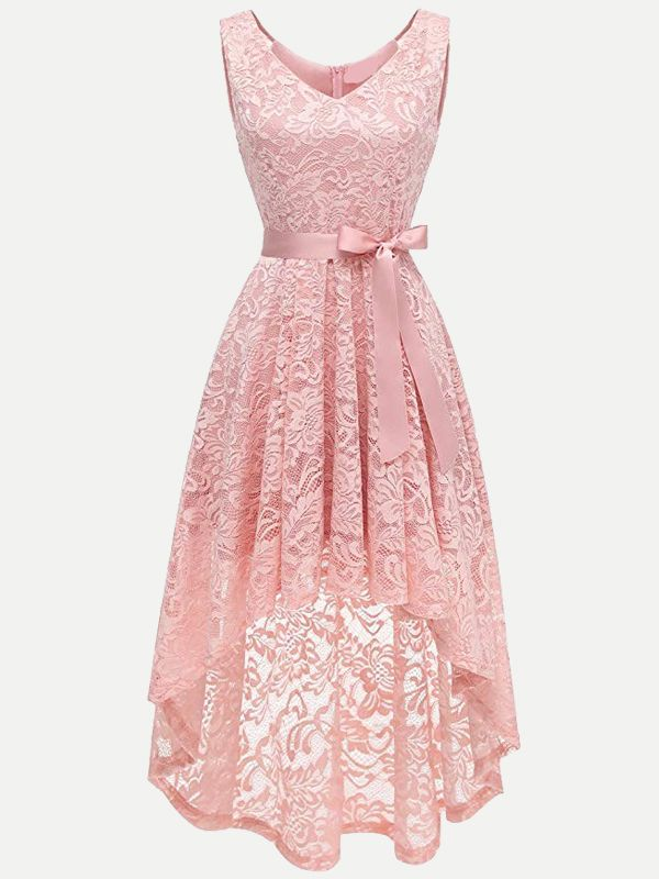 f7ba03efdbe Vinfemass V-neck Lacing Decor Irregular Hem Tank Lace Party Skater Dress
