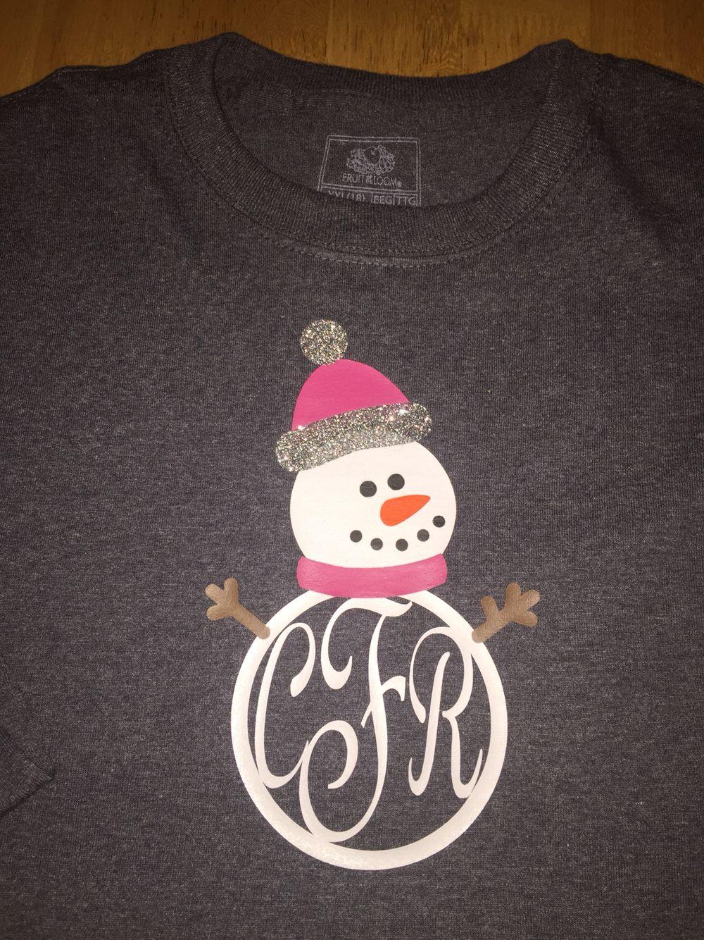 Monogrammed Snowman Shirt Vinyl Cricut Pinterest Vinyl Shirts