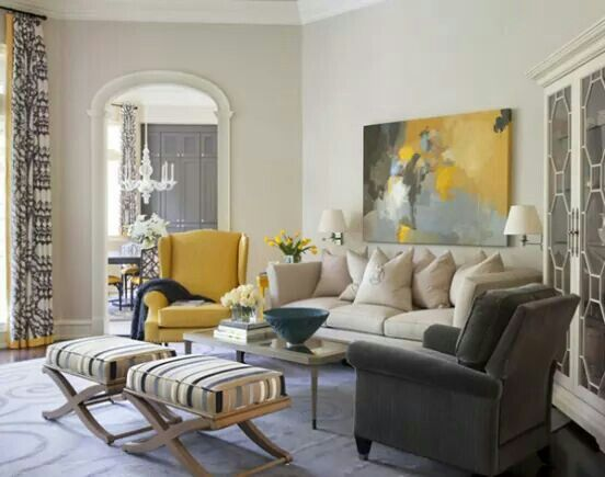 Love this room. I want that yellow chair.