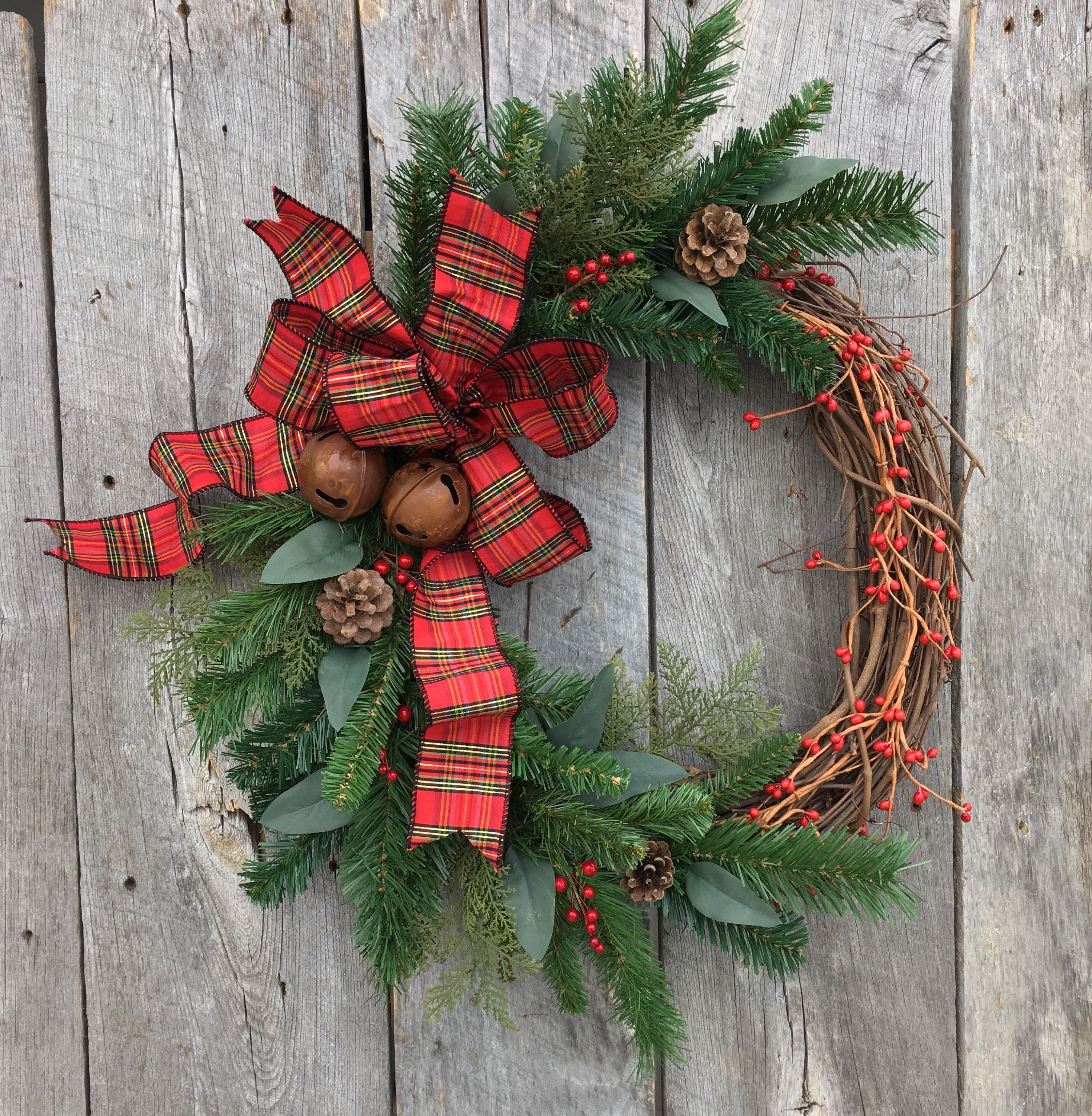 Christmas Wreath For Front Door, Holiday Wreath, Christmas Door Wreath, Artificial  Wreath, Christmas Grapevine Wreath, Tartan Wreath, Rustic