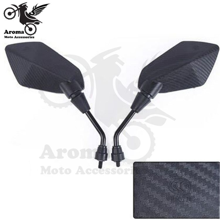 Universal Black//Carbon look 8//10mm Motorcycle Scooter Mirrors Pair