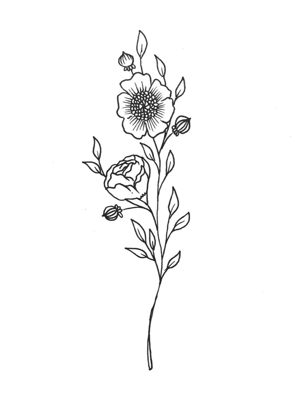 Poppy Flowers Tattoo Design Illustration By Liza Sie Bouquet Tattoo Flower Tattoos Tattoos