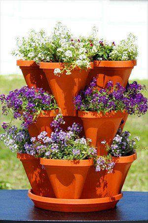 Stackable Garden Planter A Stacking Hanging Pot 2 Sets Of 3 Tiers Terracotta Color Stack Grow Flowers Herbs Plants Vertical Vegetable Gardens Herb Garden Tiered Garden