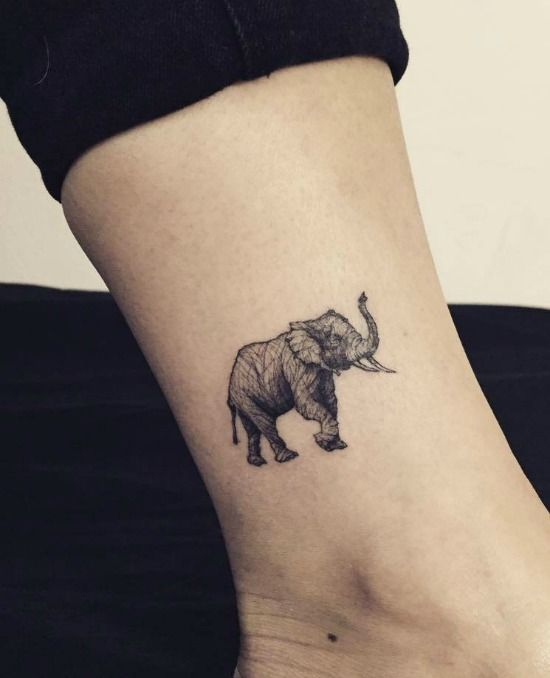 Elephant With Thumb Print Tattoo Tattoos In Mumbai Cut - Beautifully simple animal tattoos by cheyenne