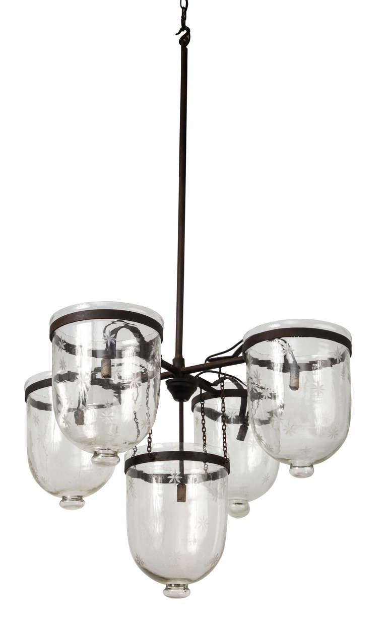1930s Fabulous Five Bell Jar Chandelier Lanterns From A Unique Collection Of Antique And Modern Chandeliers Pendants At