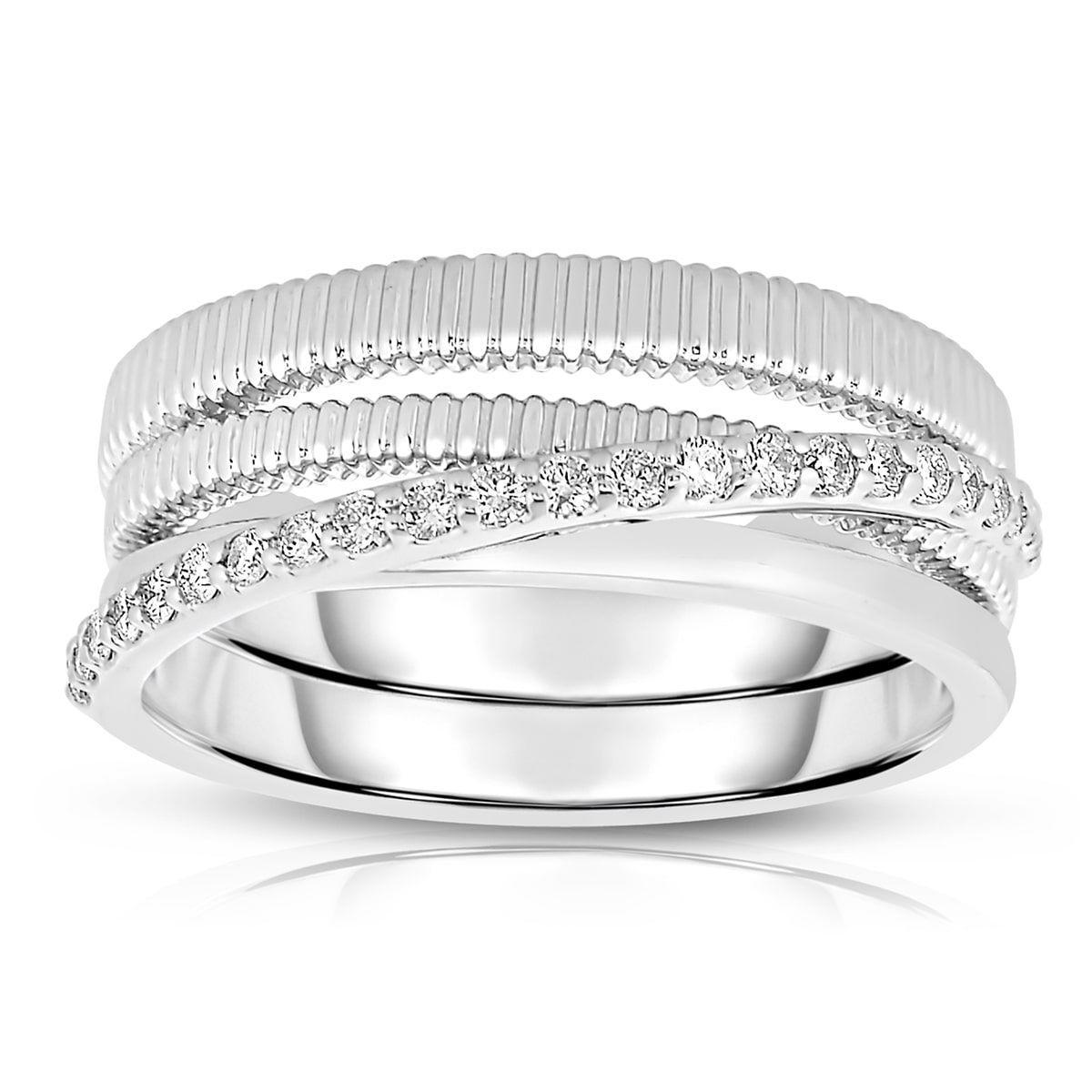 Eloquence 14k Gold 1/4ct TDW Diamond Multi-Row Ring