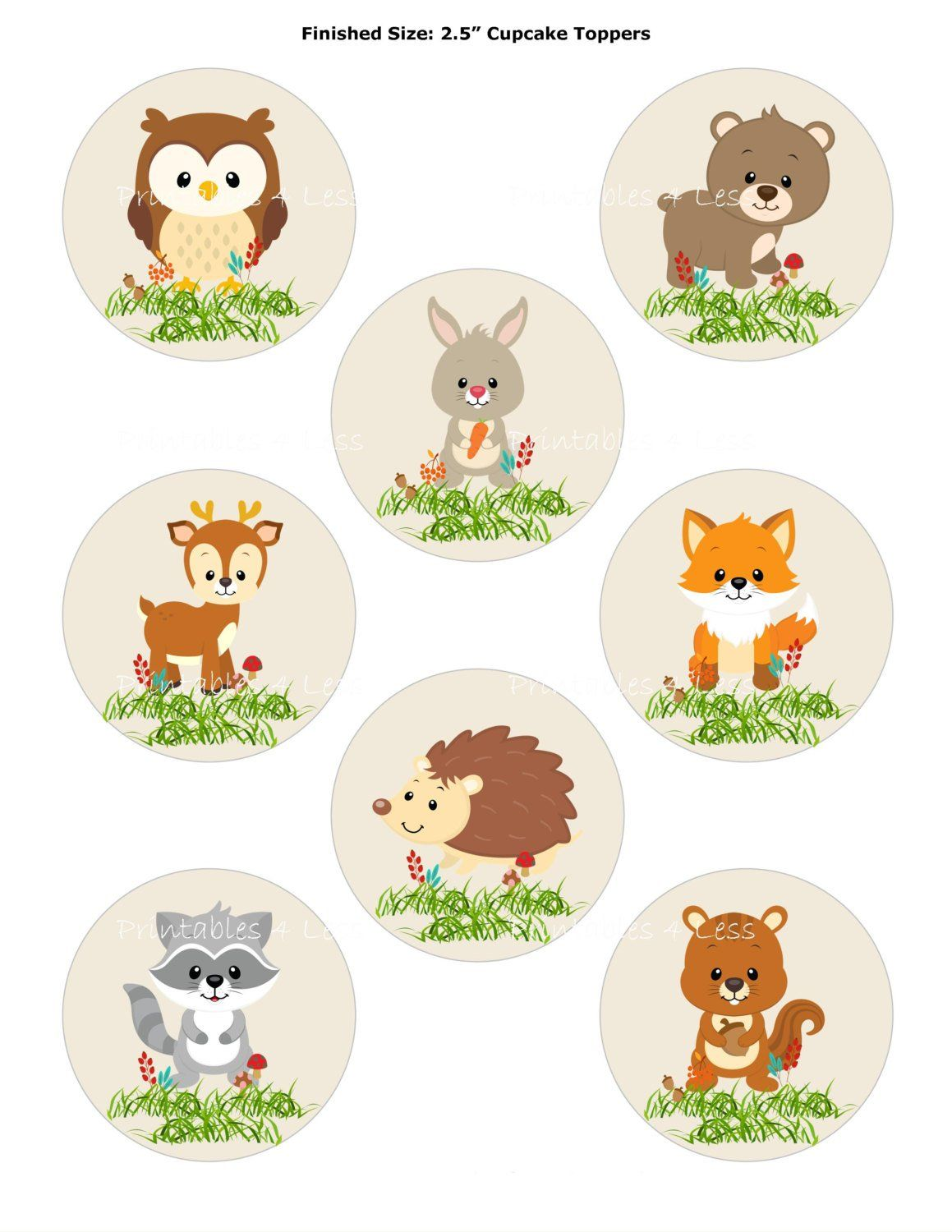 Woodland Cupcake Topper Forest Cupcake Topper Fox Cupcake Topper Woodland Animal Topper Printable Woodland Baby Printables 4 Less 0087 Woodland Animal Toppers Baby Shower Cupcake Toppers Animal Baby Shower