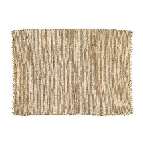 Alfombra trenzada de algodón y yute beis 160 x 230 cm LODGE