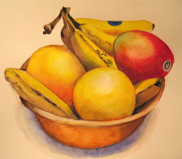 Watercolor Pencil Fruit Bowl Fruits Drawing Fruit Painting