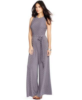 3184525e49d7 Lauren Ralph Lauren Polka-Dot-Print Jersey Jumpsuit