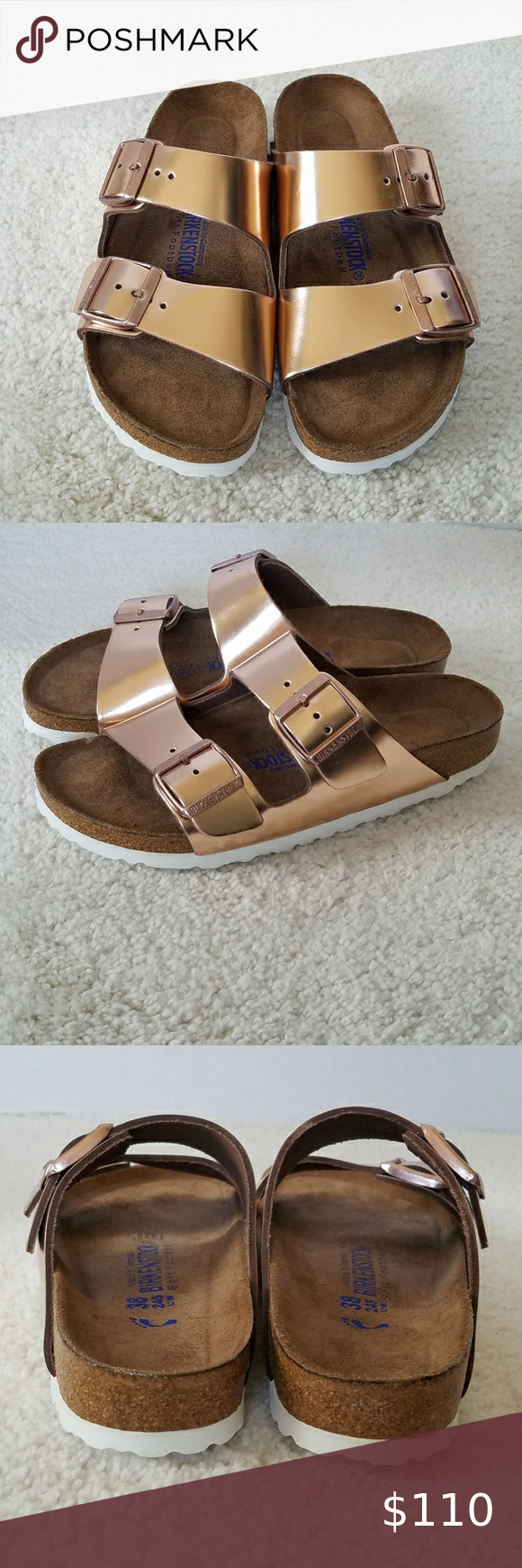 Photo of Birkenstock Arizona Metallic Rose Gold Sandals Birkenstock Arizona Metallic Rose …