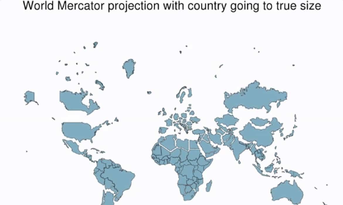 Clever Gif Shows How The World Map You Know Isn T Correct World Map Map World