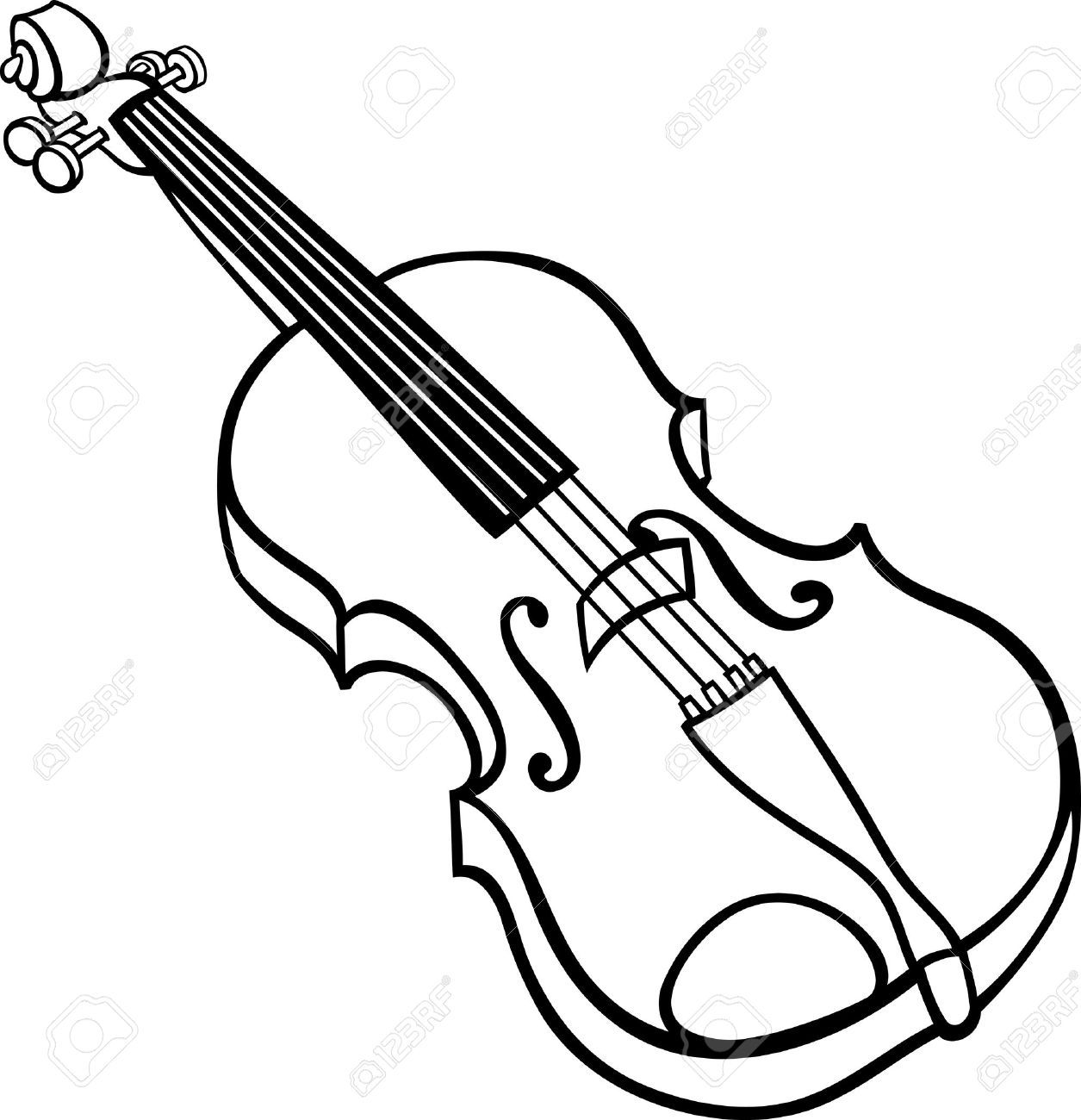 Line Drawing Violin : Black and white cartoon illustration of violin musical