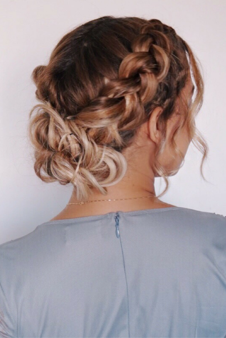 Dutch Braid Updo Holiday Hairstyle Prom Wedding Bridal Boho Hairstyle Messy Bun Curls Blonde Short Hair Updo Bridesmaid Hair Braid Dutch Braid Updo