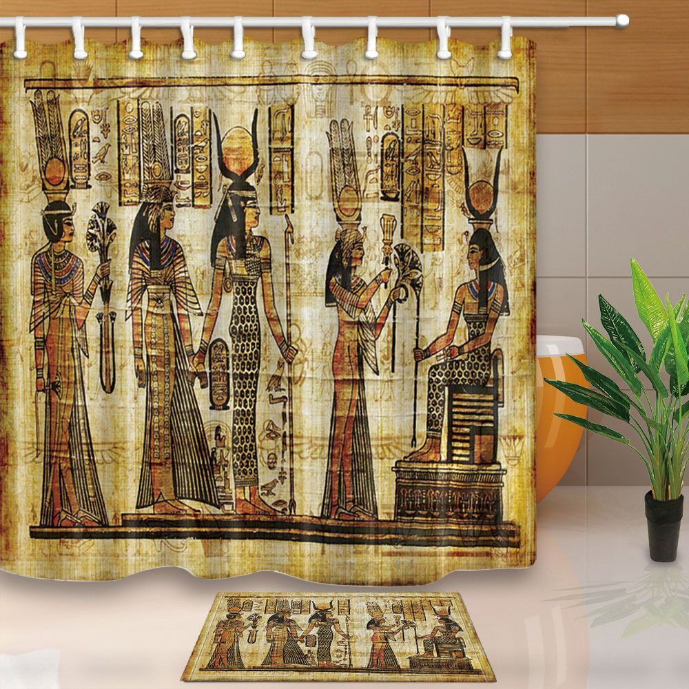 3 67 Ancient Egyptian Mural Waterproof Fabric Shower Curtain